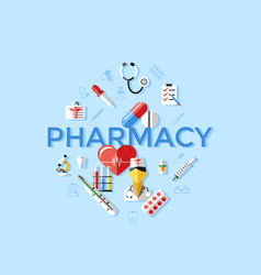 Digital blue pharmacy medical icons vector