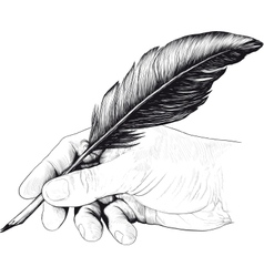 drawing of hand with a feather pen vector image vector image
