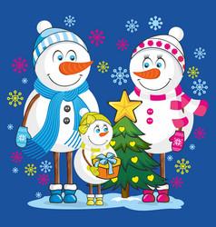family snowmen vector image