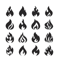 Fire flame and bonfire silhouette icons set vector