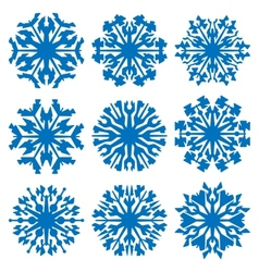 Geometric blue snowflakes set vector