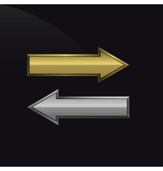 Golden and silver arrows vector image