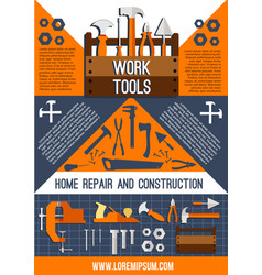 house repair work tools poster vector image vector image