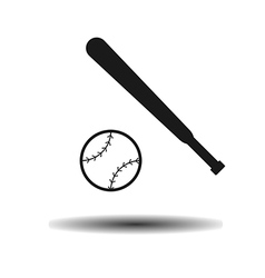 Icon baseball ball and bit with shadow vector