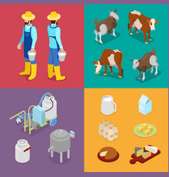 isometric milk industry production vector image vector image