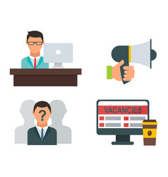 job search icon set computer office concept vector image vector image
