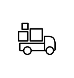 line delivery truck icon on white background vector image