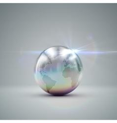 Metallic earth globe vector