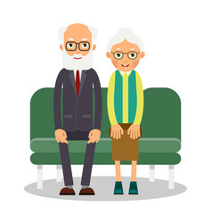 on the sofa sit elderly man and woman family vector image vector image