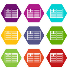 open book with a bookmark icon set color vector image
