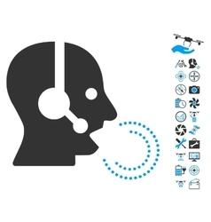 Operator Speech Icon With Air Drone Tools Bonus vector image