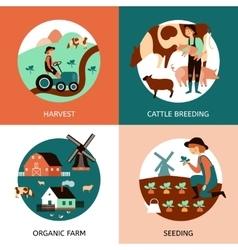 Organic farm 4 flat icons banner vector