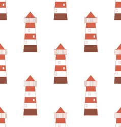 Pattern with red-white lighthouse vector