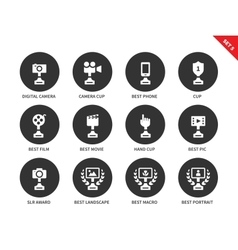 Prices and awards icons on white background vector