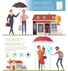 Property insurance horizontal banners vector