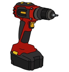 Red cordless screwdriver vector