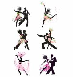 Silhouette dancing people vector