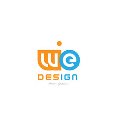 We w e orange blue alphabet letter logo vector