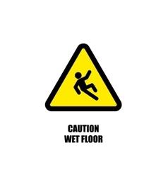 Yellow wet floor sign flat icon vector