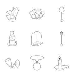 Light equipment icons set outline style vector