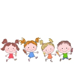 Group of happy kids with ice-cream vector