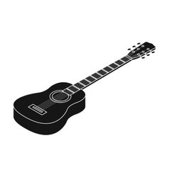 Acoustic guitar icon in black style isolated on vector image