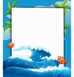 An empty signboard with two small fishes vector image