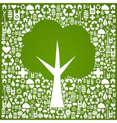 Green tree shape over eco icons background vector