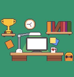 pixel art desk vector image