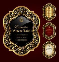 Luxury ornamental gold-framed labels vector