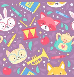 School seamless pattern for children vector