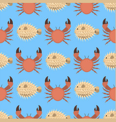 Sea animals creatures crab seamless pattern vector