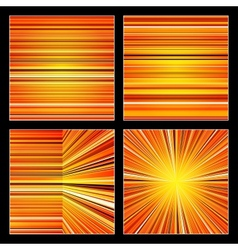 Abstract striped orange colorful backgrounds set vector
