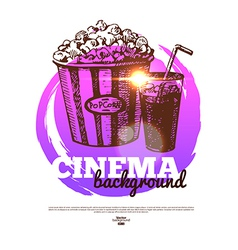 Movie cinema banner with hand drawn sketch vector