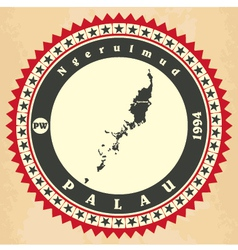 Vintage label-sticker cards of palau vector