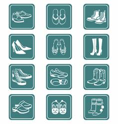 Footwear icons  teal series vector