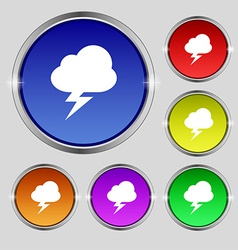 Storm icon sign round symbol on bright colourful vector