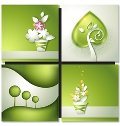 Card with abstract green paper backgrounds vector