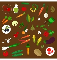 Fresh vegetables and herbs flat icons vector