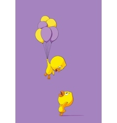 Cute chick with balloons vector