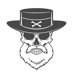 Head hunter skull with beard and hat  rover vector