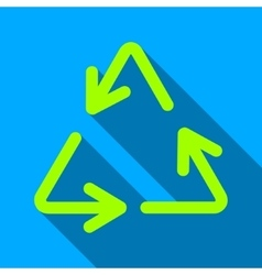Recycle arrows flat long shadow square icon vector