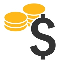 Dollar coins flat icon vector