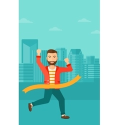 Businessman crossing finish line vector