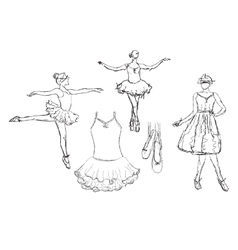 Hand drawn ballerina dance in tutu vector