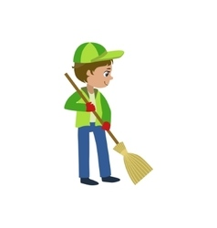 Boy with a broom outdoors vector