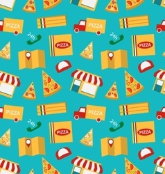Seamless pattern with slices of pizza and colorful vector
