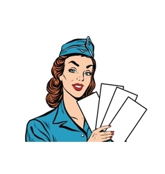 Girl retro stewardess with white forms brochure vector