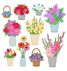 Flower shop set vector