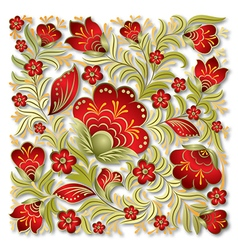abstract summer red floral ornament on white vector image